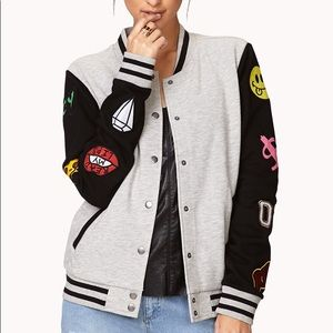 Forever 21 Patched Varsity Bomber Jacket